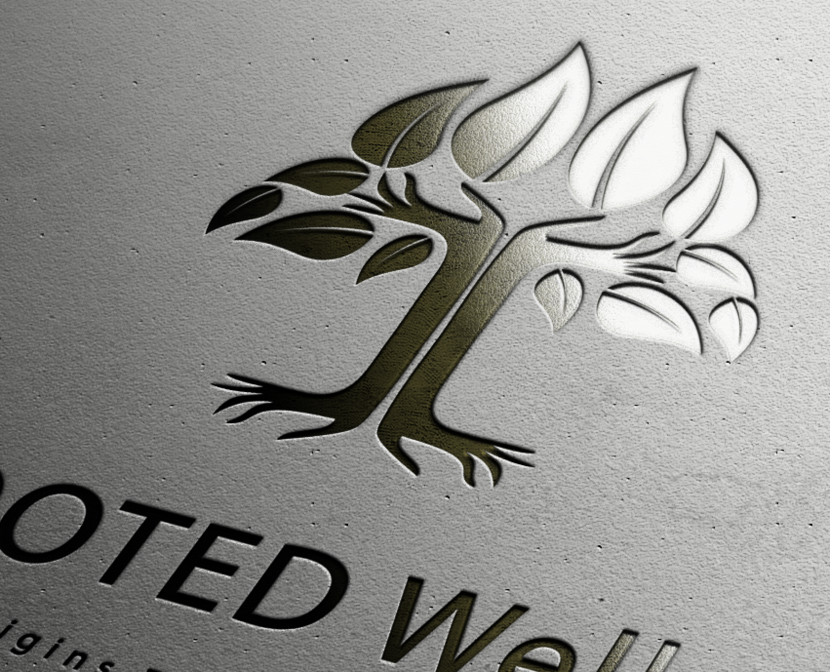 Rooted Well Logo Mockup for Mayan Massage designed by Xoil Design