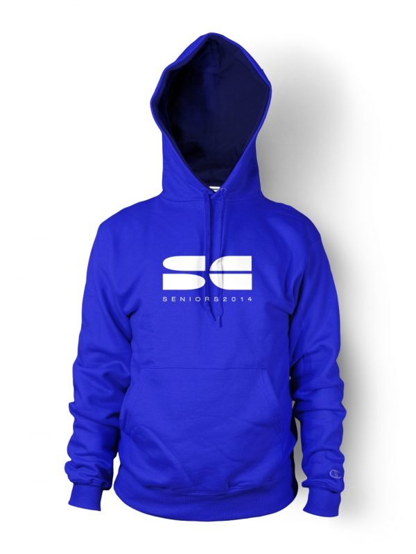 St Clair senior hoodie in vibrant blue designed by Xoil Design