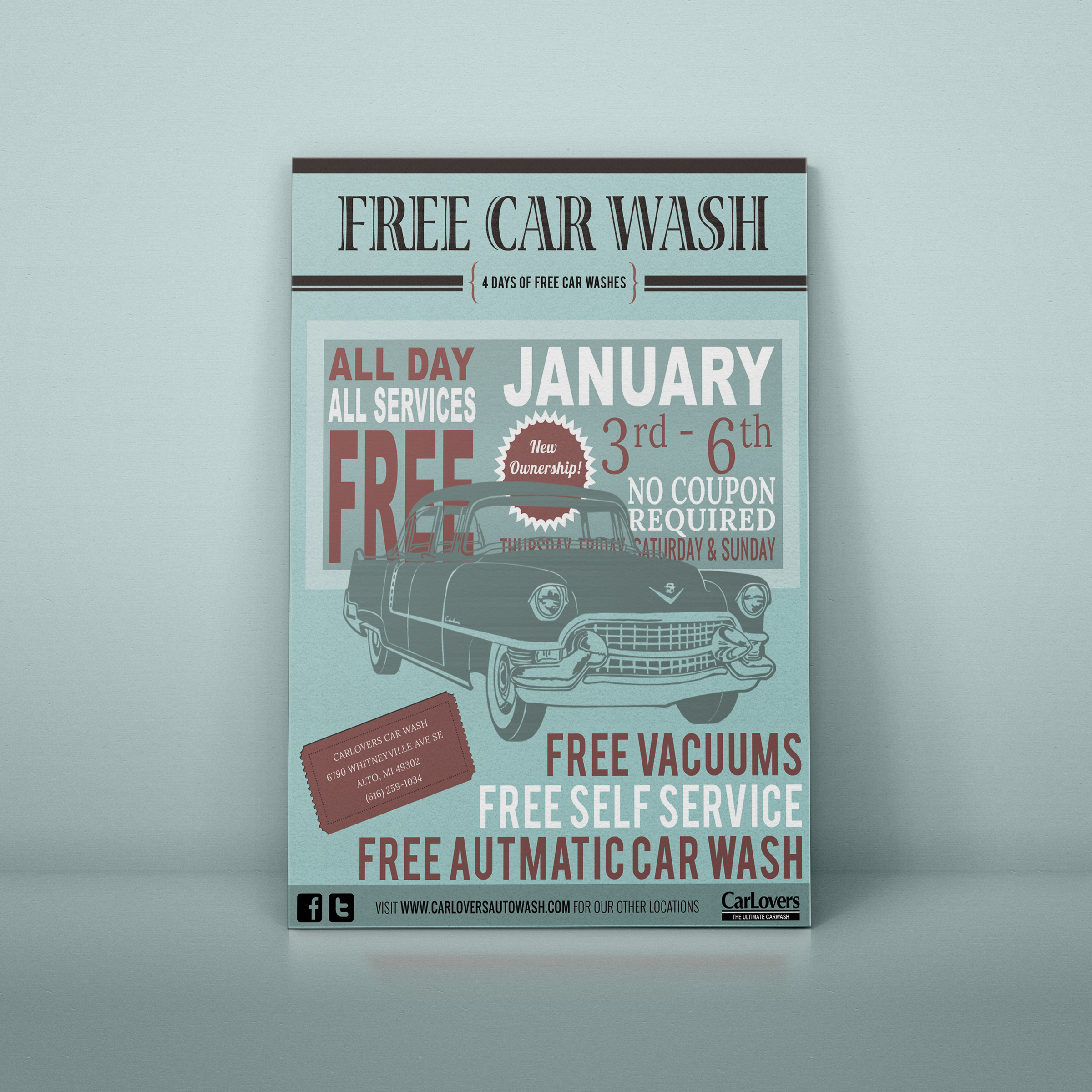 Carlovers Car Wash promotional event postcard designed by Xoil Design