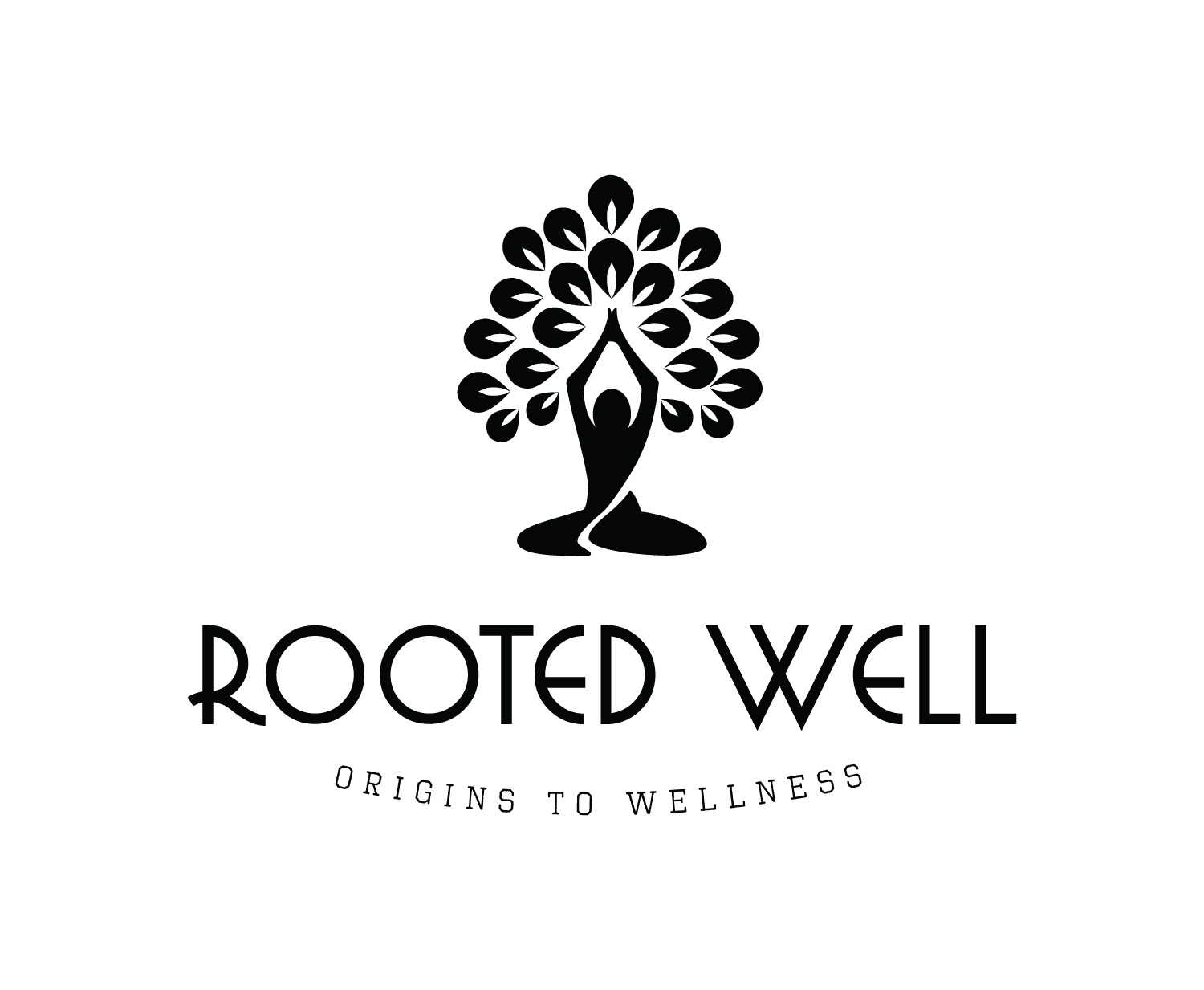 Rooted Well Black and White Logo designed by Xoil Design